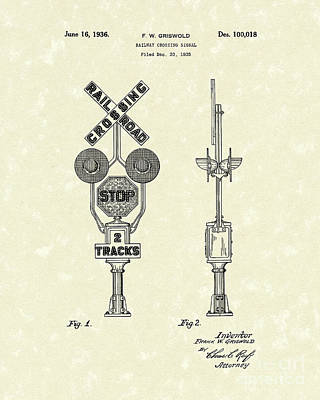 Railway Signal 1936 Patent Art Poster by Prior Art Design