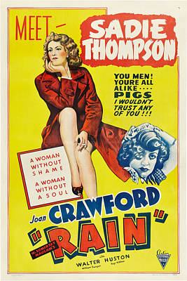 Rain, Joan Crawford On Poster Art, 1932 Poster by Everett