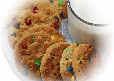 Rainbow Cookies And Milk - Food Art - Kitchen Poster by Barbara Griffin
