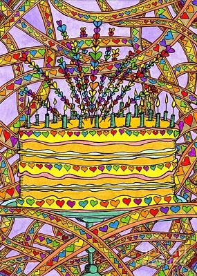 Rainbow Heart Cake Poster by Mag Pringle Gire