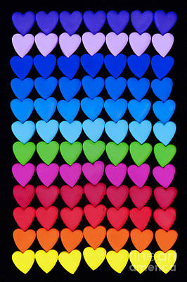 Rainbow Hearts Poster by Tim Gainey