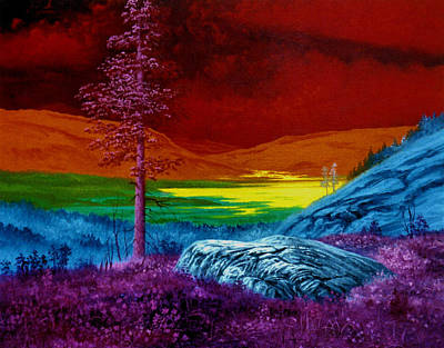 Rainbow Body Poster featuring the painting Rainbow Landscape by Genio GgXpress
