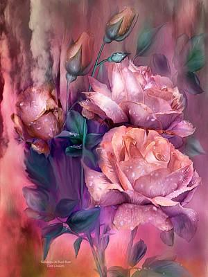Raindrops On Peach Roses Poster by Carol Cavalaris