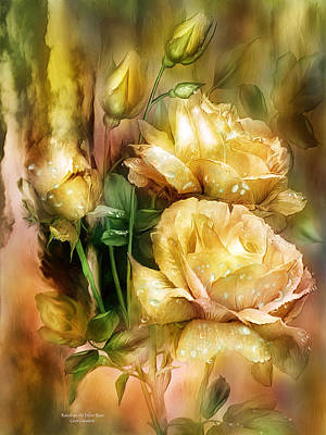 Raindrops On Yellow Roses Poster by Carol Cavalaris
