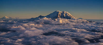 Rainier Hood Adams And St Helens From The Air Poster by Mike Reid