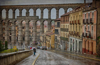 Rainy Afternoon In Segovia Poster by Joan Carroll