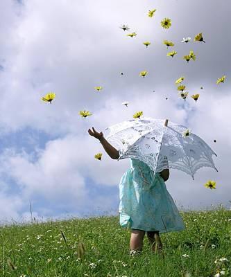 Rainy Daisy Days Poster by Chrystyne Novack