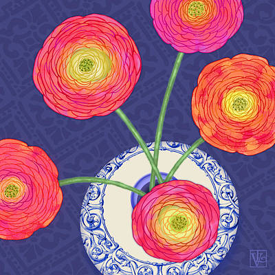 Ranunculus On Blue Poster by Valerie Drake Lesiak