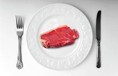 Raw Meat On White Plate Poster by Victor De Schwanberg