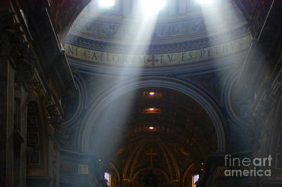 Rays Of Hope St. Peter's Basillica Italy  Poster by Bob Christopher