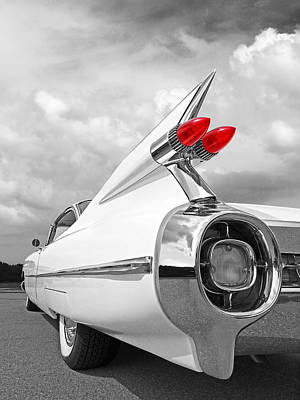 Reach For The Skies - 1959 Cadillac Tail Fins Black And White Poster by Gill Billington