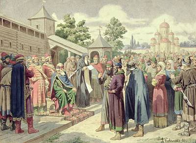 Reading Of The Code In The Presence Of Grand Duke Jaroslav Of Novgorod, 1880 Wc On Canvas Poster by Aleksei Danilovich Kivshenko