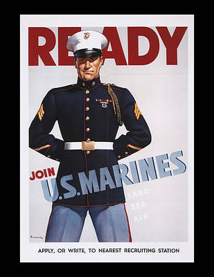 Ready Join Us Marines Poster by Annette Redman
