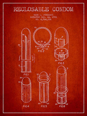 Reclosable Condom Patent From 1986 - Red Poster by Aged Pixel