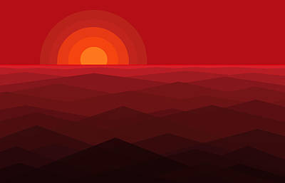 Red Abstract Sunset Poster by Val Arie