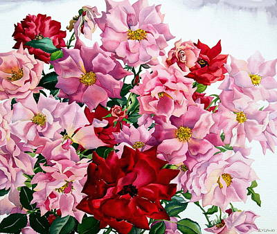 Red And Pink Roses Poster by Christopher Ryland