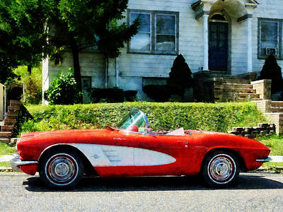 Red And White Corvette Convertible Poster by Susan Savad