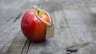 Red Apple With A Price Label Poster by Aged Pixel