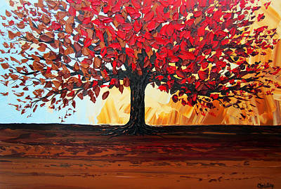 Red Autumn Tree Of Life Poster by Christine Krainock