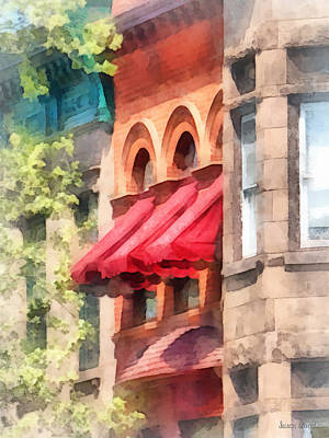 Hoboken Nj - Red Awnings On Brownstone Poster by Susan Savad