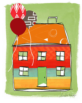 Red Balloon Poster by Linda Woods