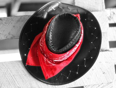 Red Bandana And Cowboy Hat Poster by Dan Sproul