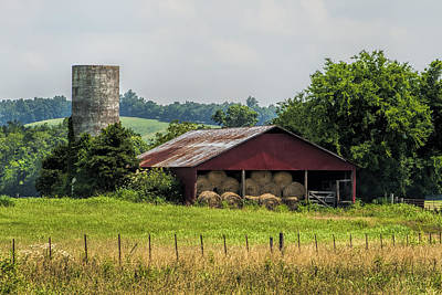 Red Barn And Bales Of Hay Poster by Kathy Clark