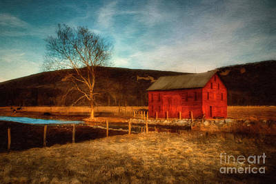 Red Barn At Twilight Poster by Lois Bryan