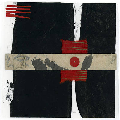Red Black And White Collage 1 Poster by Carol Leigh