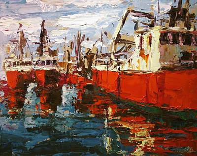 Red Boats Poster by Brian Simons