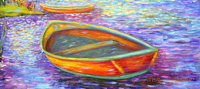 Red Boats On Autumn's Shore Poster by Glenna McRae