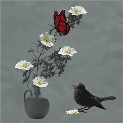Red Butterfly In The Eyes Of The Blackbird Poster by Barbara St Jean