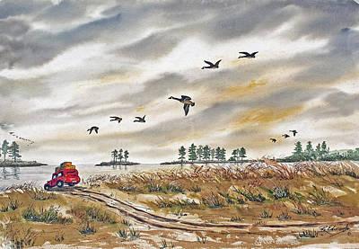 Red Car On Beach Poster by Raymond Edmonds