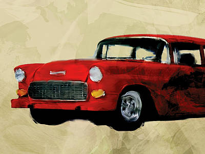 Red Chevy Belaire Poster by Flo Karp