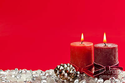 Red Christmas Candles Poster by Elena Elisseeva