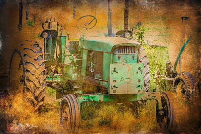 Old Tractor - Red Clay Farming Poster by Barry Jones