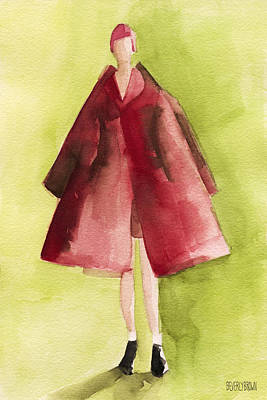 Red Coat - Watercolor Fashion Illustration Poster by Beverly Brown Prints