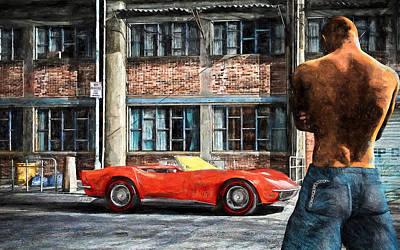Red Corvette Poster by Bob Orsillo