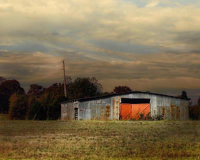 Red Doors - Barn At Sunset Poster by Jai Johnson
