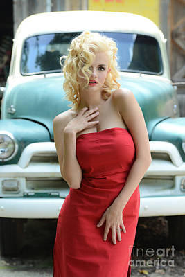 Red Dress Marilyn Monroe Style Poster by Jt PhotoDesign