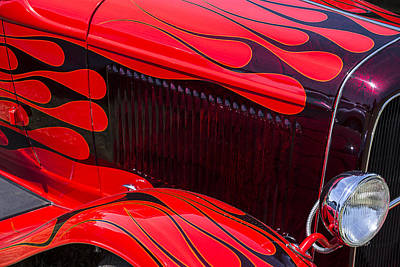 Red Flames Hot Rod Poster by Garry Gay