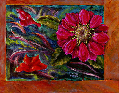 Red Flower In Rust And Green Poster by Lenora  De Lude