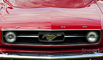 Ford Motor Company Poster featuring the photograph Red Ford Mustang by Tim Gainey