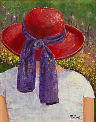 Red Hat Garden Poster by Margaret Bobb
