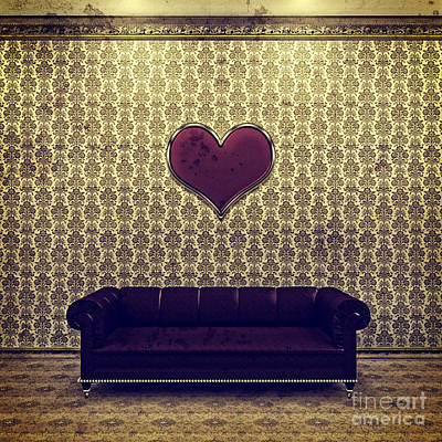 Red Heart And Purple Couch In A Gold Victorian Room Poster by Beverly Claire Kaiya