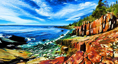 Red Ledge At Quoddy Head Poster by Bill Caldwell -        ABeautifulSky Photography