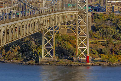 Red Lighthouse And Great Gray Bridge Poster by Susan Candelario