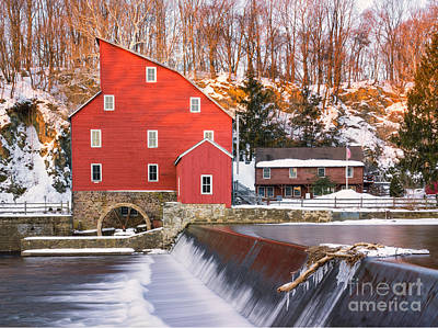 Red Mill Clinton New Jersey Poster by Jerry Fornarotto