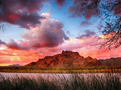 Red Mountain Sunset Poster by John Haldane
