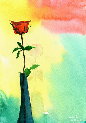 Unique View Poster featuring the drawing Red Rose 1 by Anil Nene